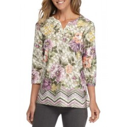 Alfred Dunner Palm Texture Floral Border Top Multi Women T-shirts SqBindVg