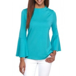 Crown & Ivy™ Flare Sleeve Ponte Top Turquoise Dive Women T-shirts l9jTJDkq