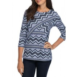Kim Rogers® 3/4 Crisscross Geometric Chevron Top Blue Combo Women T-shirts Hhwr9hKW