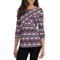 Kim Rogers® 3/4 Crisscross Geometric Chevron Top Plum Combo Women T-shirts nc8oZ24C