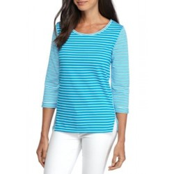 Kim Rogers® Stripe 3/4 Sleeve Top Turquoise/White Women T-shirts JUZEnf95