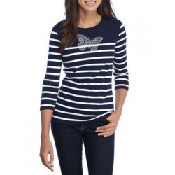 Kim Rogers® Stripe Knit Butterfly Top Navy/White Women T-shirts L7JL38SQ