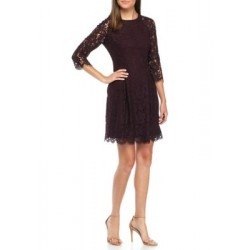 Vince Camuto Lace Fit and Flare Dress Aubergine Women Designer Dresses TgCEKlNp