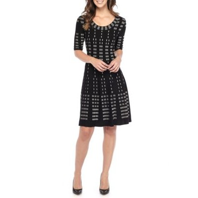 Gabby Skye Printed Fit and Flare Sweater Dress Black/Tan Women Casual Dresses HTms4TG1
