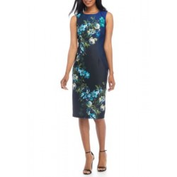 Julian Taylor Floral Printed Scuba Sheath Dress Black/Blue Multi Women Casual Dresses LjwLKJBv