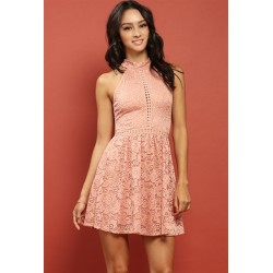 crochet-trimmed lace-overlay flare dress Dusty Pink Solid Women Mini Dresses D19848-A wIP84k4g