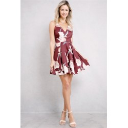floral fit and flare dress Burgundy Women Mini Dresses D21505-3 s27Y6ZRd