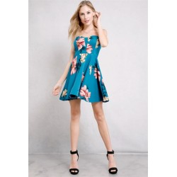 floral tube mini dress TEAL Women Mini Dresses CD21168-1 dYYUtK1i