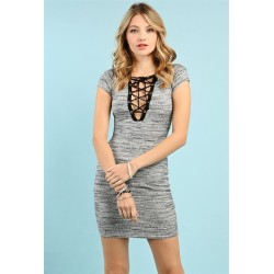 lace up marled mini dress Charcoal Women Mini Dresses  9sh6LEi8