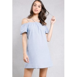 striped open-shoulder dress Medium Denim Women Mini Dresses 35002-2A DggzI8eD