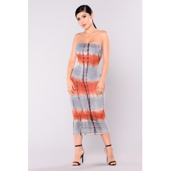 Daria Tie Dye Dress - Rust  Women Midi Dresses Cheap w4vzomPy