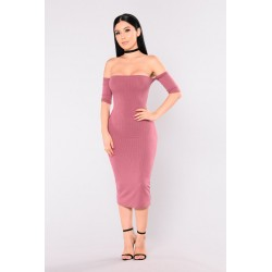 Lola Off Shoulder Dress - Mauve  Women Midi Dresses Cheap 5lj1WXIt