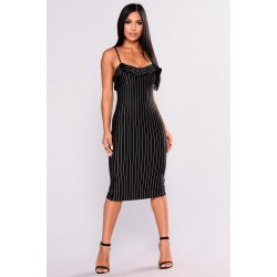 Marcelle Striped Dress - Black/White Women Midi Dresses Cheap aBtH9v8Z