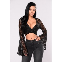 Mayce Bell Sleeve Top - Black  Women Woven Tops Cheap jXmTKikL