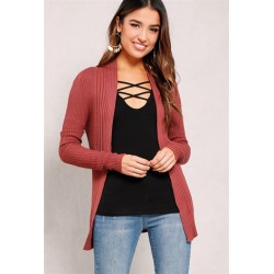 ribbed open-front knit cardigan Charcoal Women Cardigans SW2671 Aqo1w69P