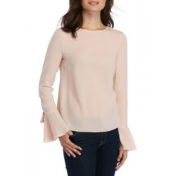 Wayf Maverick Bow Bell-Sleeve Top Rose Women Blouses gwcwMtsu