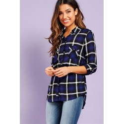 belted Patch Pocket Plaid Shirt NAVY Women Blouse & Shirts CgtfR99R