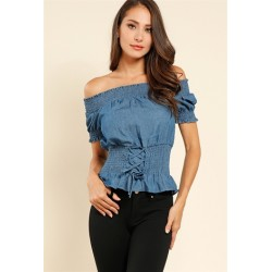 denim lace-up off-the-shoulder top Medium Denim Women Blouse & Shirts  PfWsPLEQ