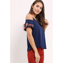 floral applique open-shoulder top NAVY Women Blouse & Shirts T22851 hr2LT7EP