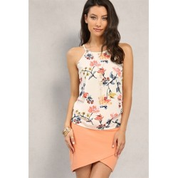 ruched floral print cami w/ necklace Dusty Pink Print Women Blouse & Shirts C8599 Sl61PtwT