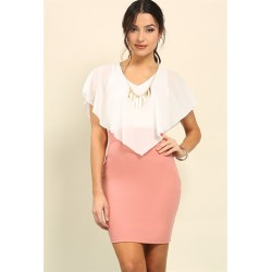 Chiffon draped bodycon dress w/ necklace Dusty Pink Solid Women Day Dresses 8CzLSJzr