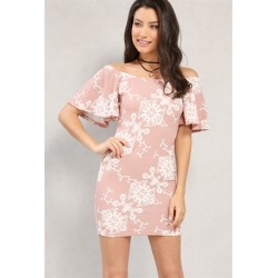 lace print off-the-shoulder dress w/ choker Dusty Pink Solid Women Day Dresses  lkjEY0CN