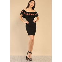 Floral embroidered flounce bodycon dress Black Women Floral Dresses  ImdCtNB5