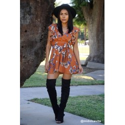 floral printed ruffled mini dress Rust Women Floral Dresses B3745A XcGJtlzR