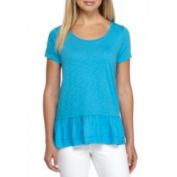 Crown & Ivy™ Solid Peplum Top Turquoise Pool Women Tunics pnVRcBNh