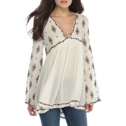 Free People Diamond Embroidered Top Ivory Women Tunics 0bVAf386