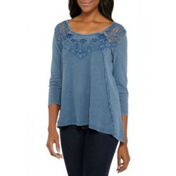 New Directions® Lace Yolk Rib Knit Top Blue Women Tunics LMQguA2L