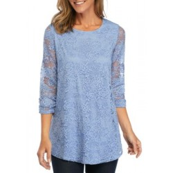New Directions® Ruched Sleeve Lace Tunic Blue Haze Women Tunics uwoU2CoU