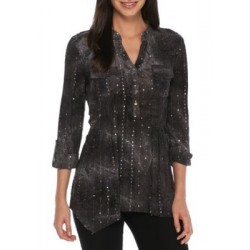 New Directions® Three-Quarter Roll Sleeve Sequin Top Black-white Women Tunics op9ZgGv6