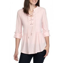 New Directions® Three Quarter Sleeve Lace Front Top Pillar Pink Women Tunics 7ha1KcQ8