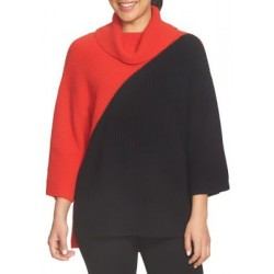 CHAUS Dolman Colorblock Cowl Neck Sweater Rouge Women Sweaters WhgyoY7H