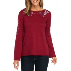 New Directions® Embroidered Knit Sweater Sangria Women Sweaters lkBm3CSC