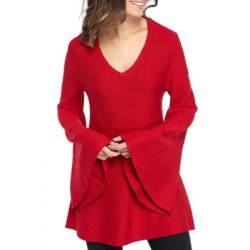 New Directions® Long Bell Sleeve Turtleneck Pullover Radiant Red Women Sweaters GUexEIYy