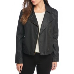 Eileen Fisher Waxed Cotton Stretch Twill A-Line Jacket Black Women Blazers NSODNyEj