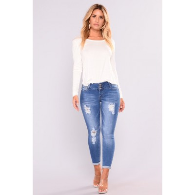 Cutie With A Booty Lifting Jeans - Medium Blue Wash Women Jeans Cheap 11OSrAH5